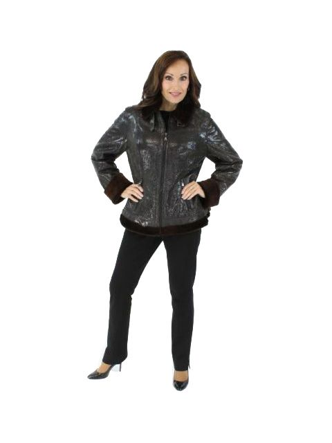 Woman's Dark Chocolate Brown Fitted Shearling Jacket