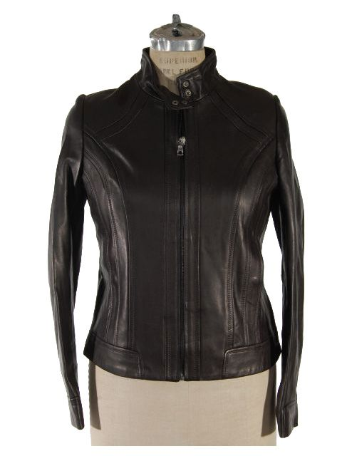 Black Leather Fitted Jacket with Stitch and Quilted Detail