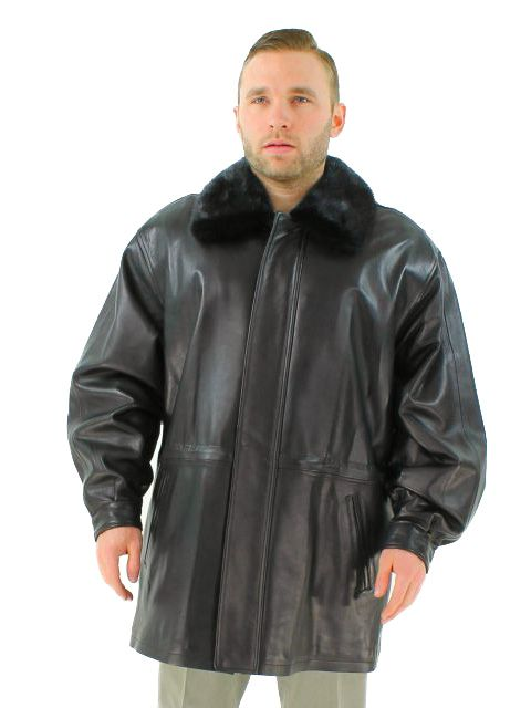 Luxurious Black Leather 3/4 Coat with Mink Trim