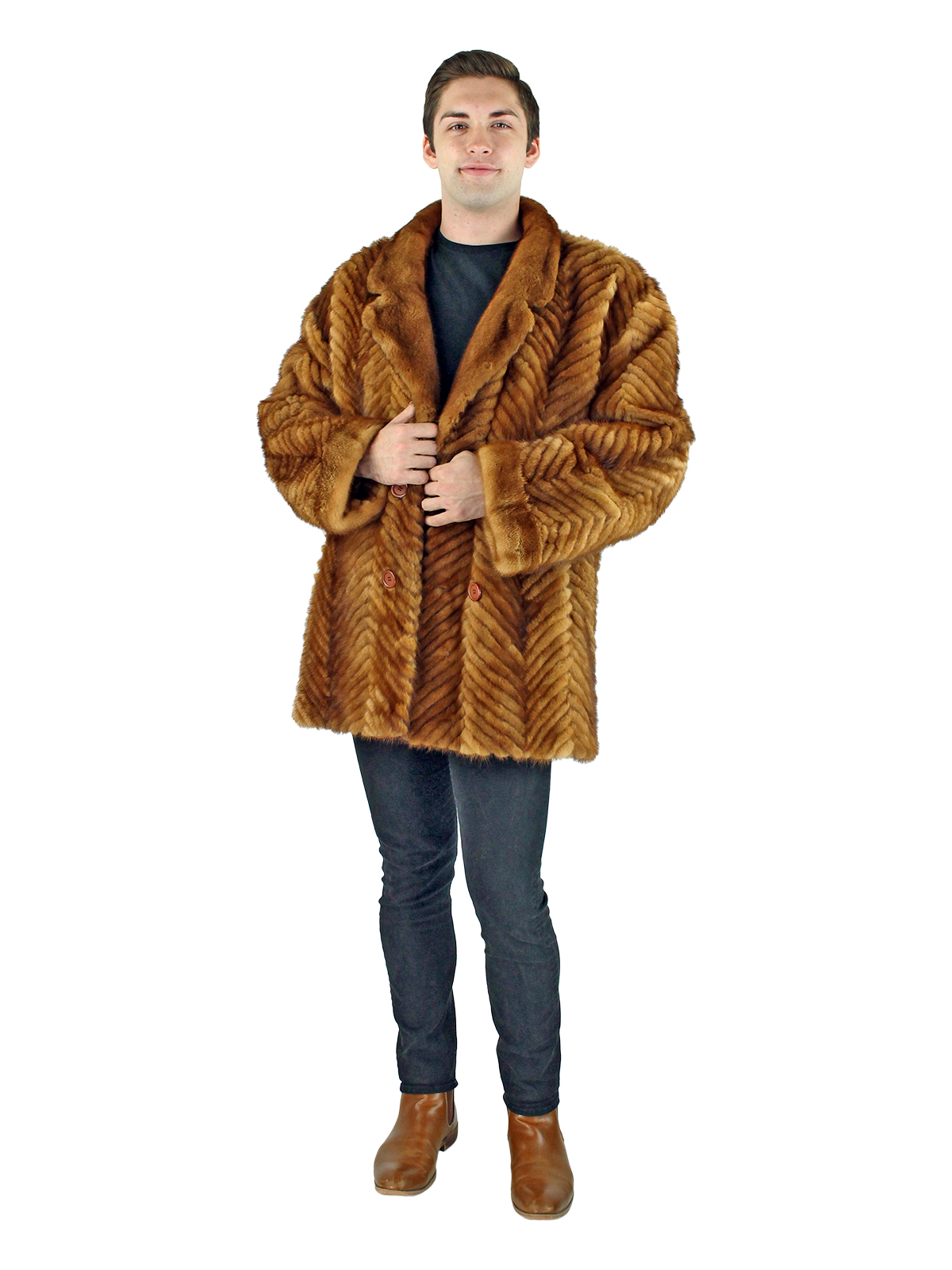 Man's Whiskey Section Mink Fur 3/4 Coat