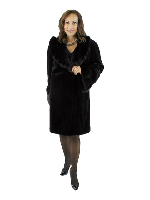Black Sheared Mink Fur Stroller with Ruffled Collar (Reversible)