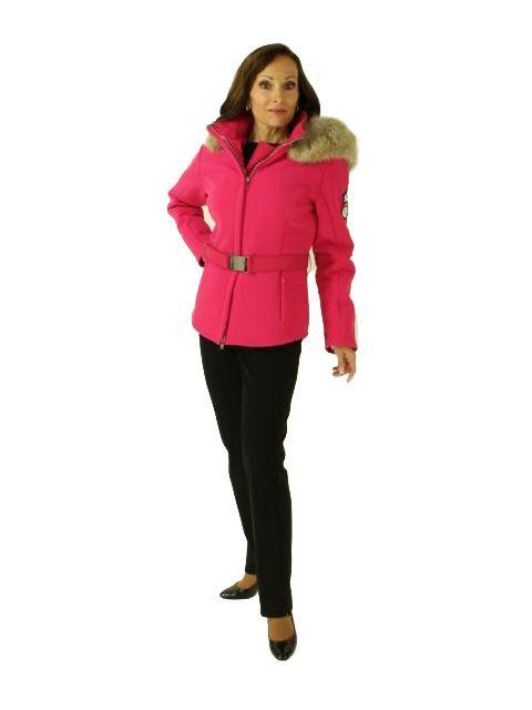 Pink M Miller Swiss Designer Ski Parka with Coyote Trimmed Hood