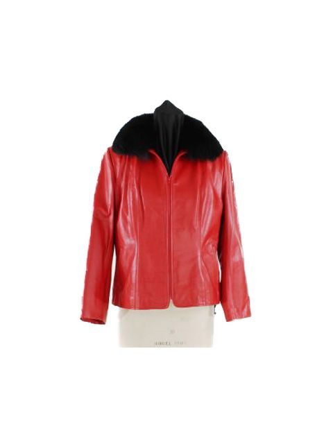 Board Room to Dinner Red Leather Jacket with Black Fox Collar