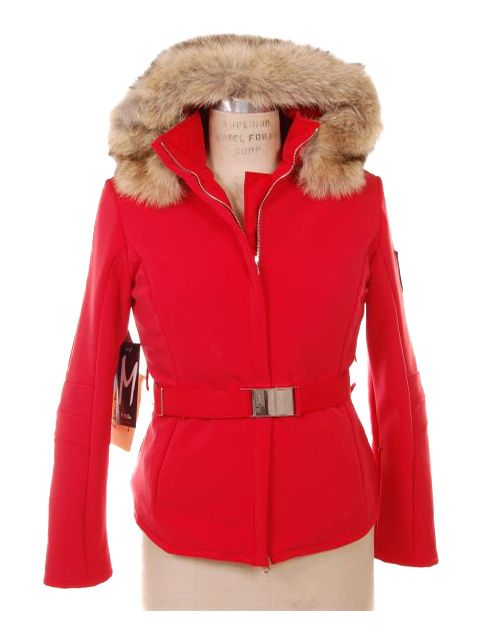 True Blue Red Swiss Designer Ski Parka with Coyote Trimmed Hood