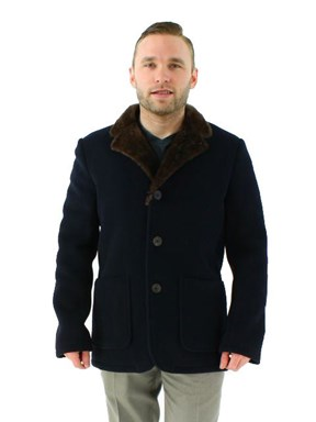 Men's Any Weather Navy Textured Fabric and Shearling Jacket