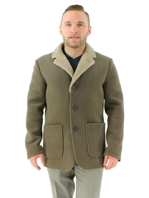 Rugged Khaki Textured Fabric and Shearling Jacket