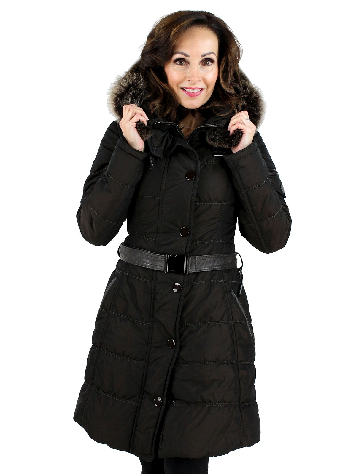 Gorski Woman's Espresso Apres Woman's Fabric Ski Jacket with Fox Trimmed Hood