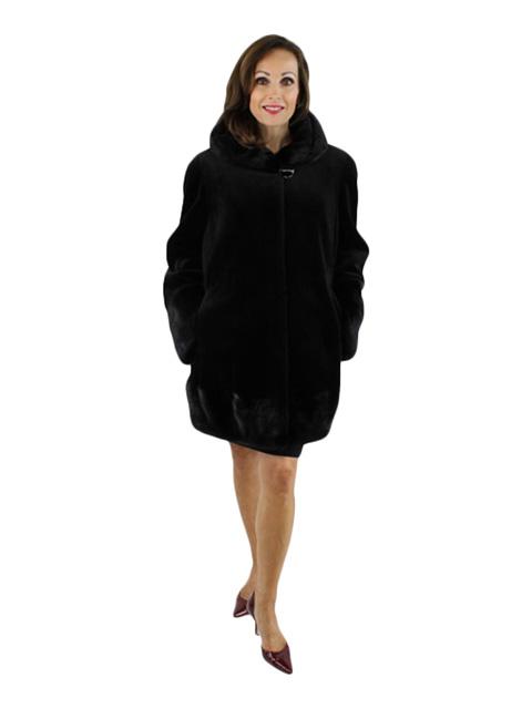 Black Sheared Mink and Mink Jacket