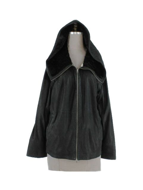 Perforated Hooded Black Leather Jacket with Black Lamb Collar