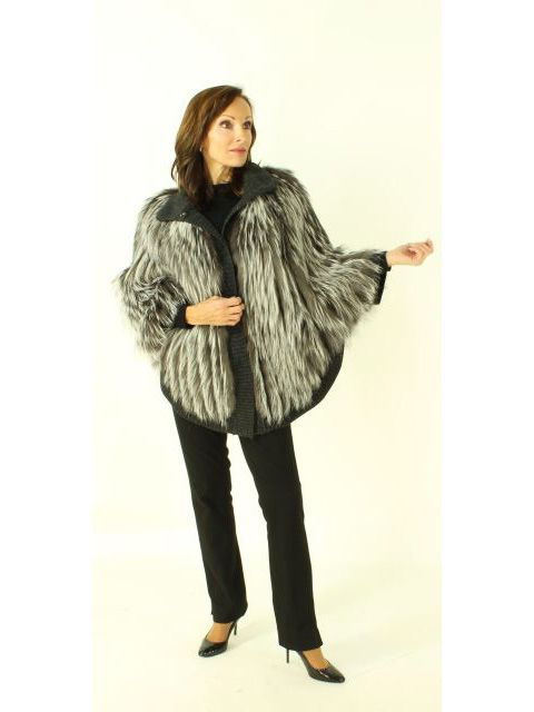 Fabulous Silver Fox and Charcoal Wool Cape  So Perfect Everywhere
