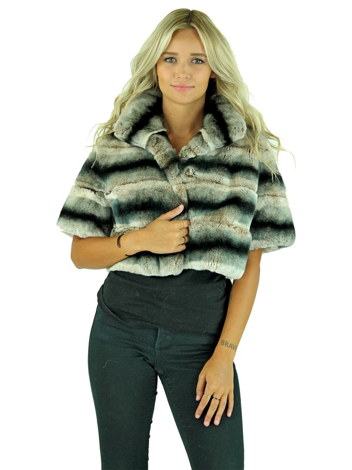 Gorski Woman's Grey Chinchilla Dyed Rex Rabbit Fur Jacket