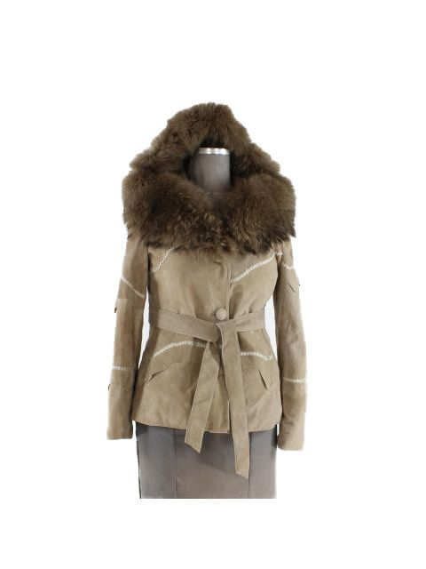 Striking Taupe Suede Belted Parka with Finn Racoon Trim