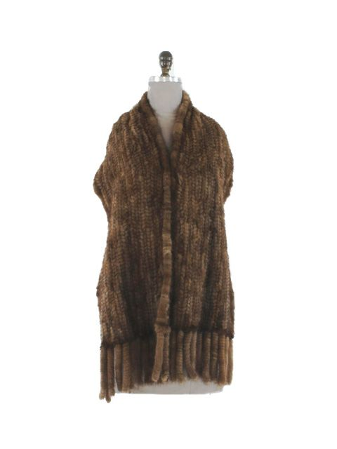 Perfect for Fall Luxurious Scan Brown Knit Wrap with Fringe
