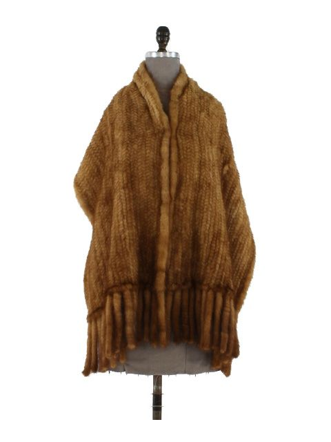 Stunning Golden Mink Knit Wrap with Fringe