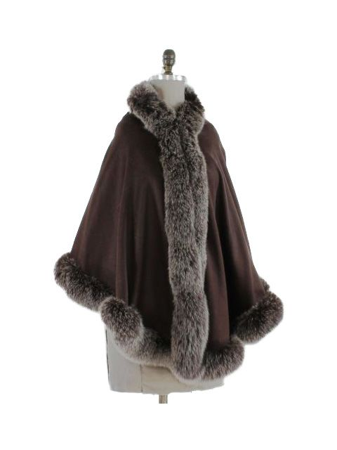 Gorgeous Chocolate Brown Cashmere Wrap (Snowtop Fox Trim)