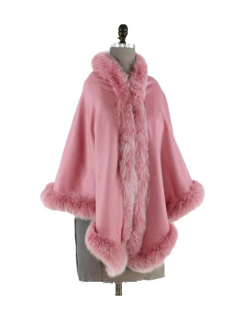 Wear with Everything Pastel Pink Cashmere Wrap with Fox Trim
