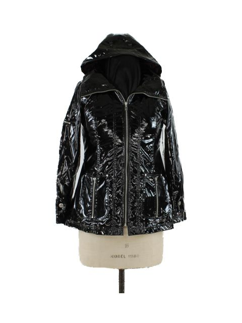 So Fifth Avenue Unusual Elegant Black Patent Anorak