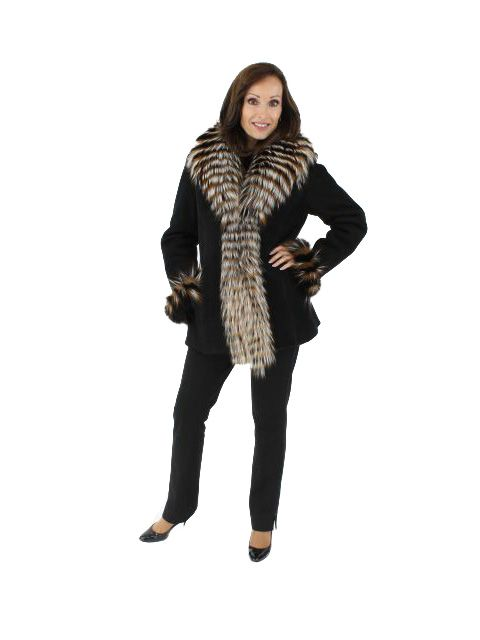 Look Fabulous While Warm Black Shearling Stroller with Fox Trim