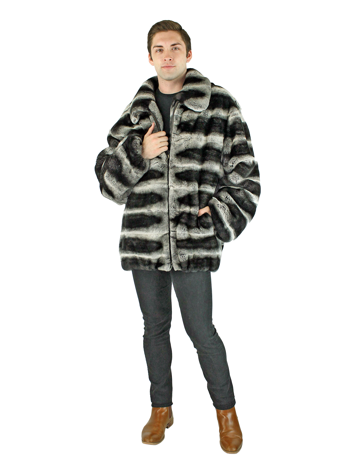 Man's Grey Chinchilla Dyed Rex Rabbit Fur Zipper Jacket