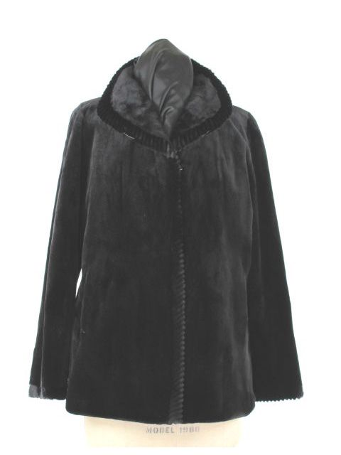 Reversible Black Sheared Mink Jacket with Matching Mink Trim