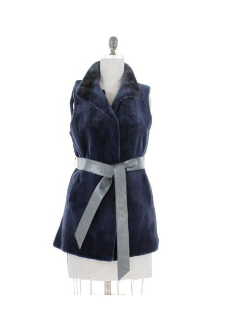 Wonderful Deep Dark Navy Petite Sheared Mink Vest with Leather Belt