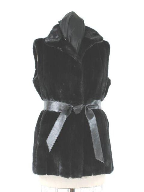 Beautiful Black Belted Mink Vest