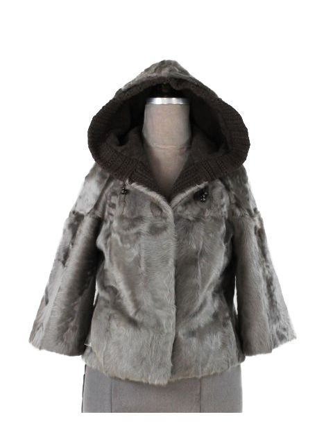 Short and Sassy Distinctive Taupe Lamb Parka
