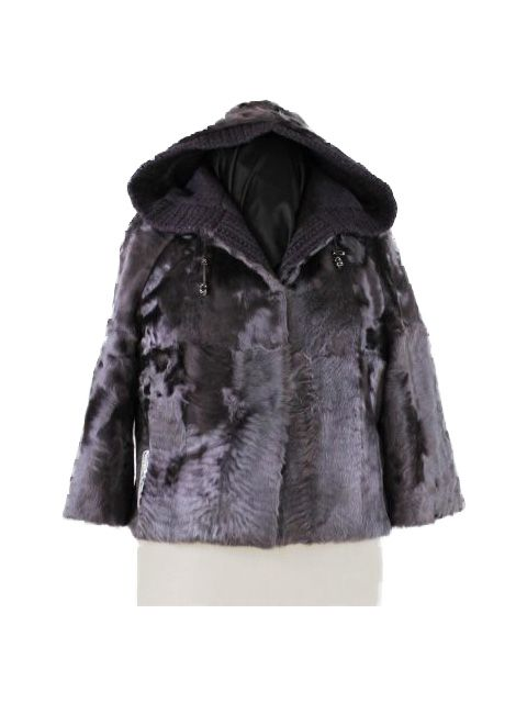 Short and Sassy Distinctive Plum Lamb Parka
