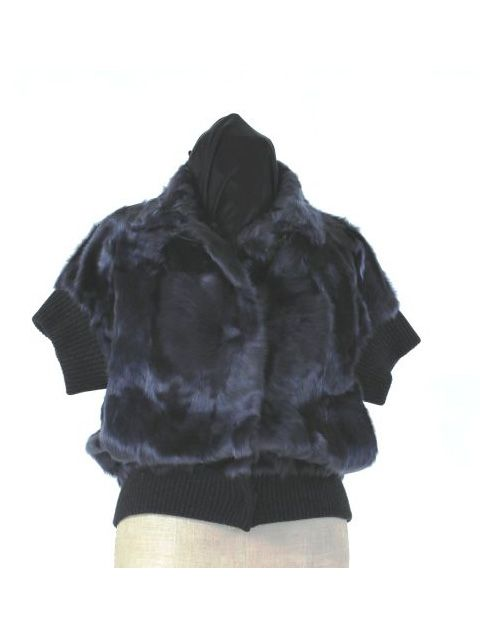 Navy Lamb Jacket with Comfort Fit Knit Sleeves and Hem