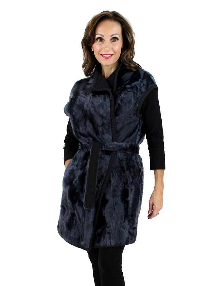 Gorski Woman's Navy Lamb Long Fur Vest