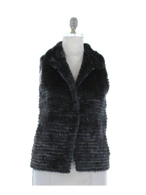 Petite Black Mink Vest with Tunnel Belt