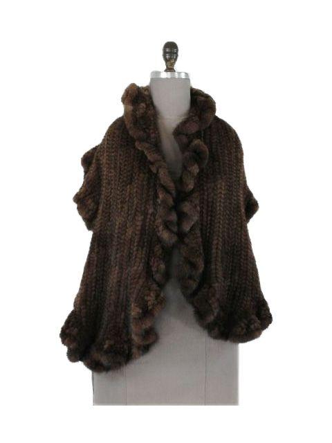 Rapturous Ruffled Scan Brown Knit Mink Stole