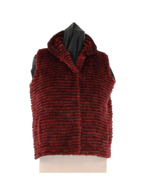Beautiful Plus Size Red Mink Vest with Tunnel Belt
