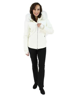 Winter Wonderland White Ski Parka with Matching Fox Trim and a Bit of Bling