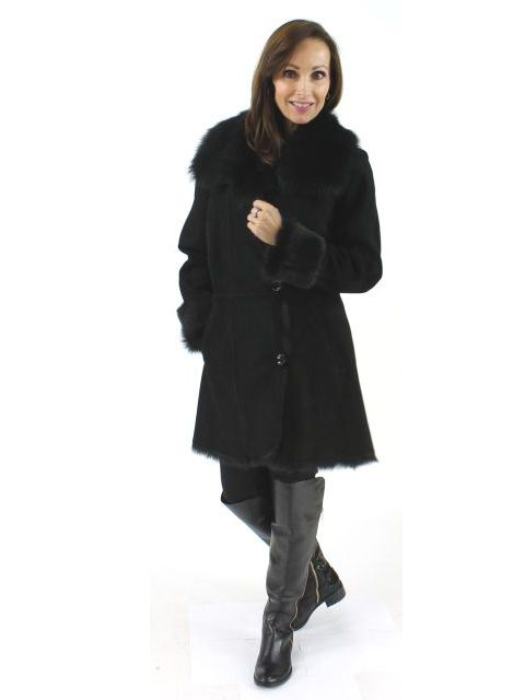 Boardroom to Dinner Out Figure Flattering Jet Black Shearling Stroller