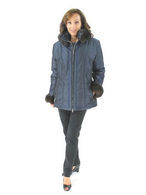 Glamour in Vail Navy Ski Jacket with Sable and a Bit of Sparkle