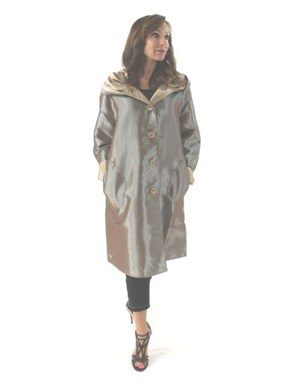 Classic Trench Coat Tan and Sage with a Bit of Sheen Reversible Raincoat