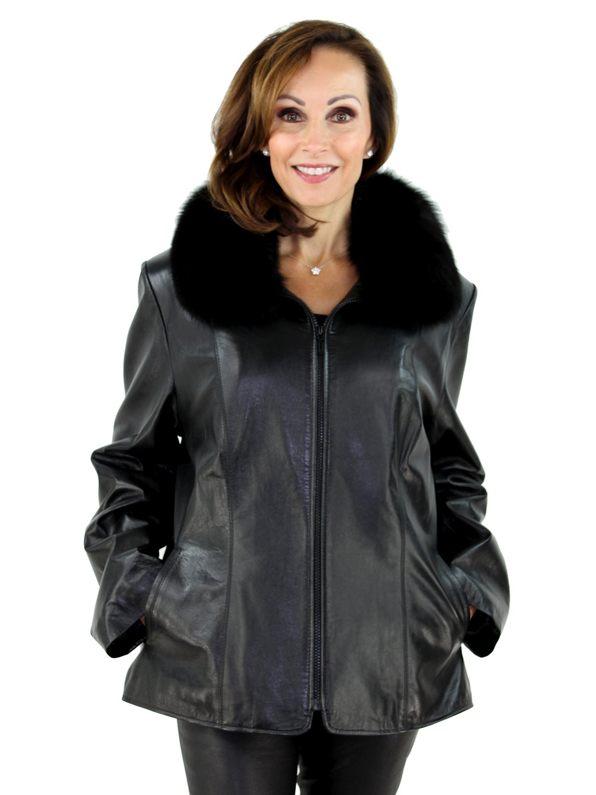 Woman's Black Leather Jacket with Detachable Black Fox Fur Collar