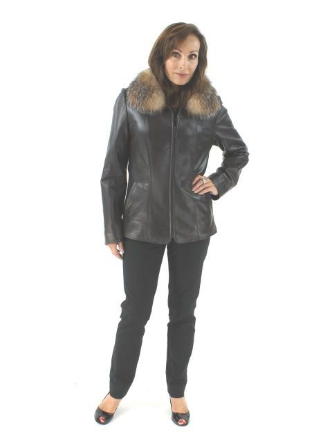 Out of the Ordinary Dark Chocolate Brown Leather Jacket with Crystal Fox Trim