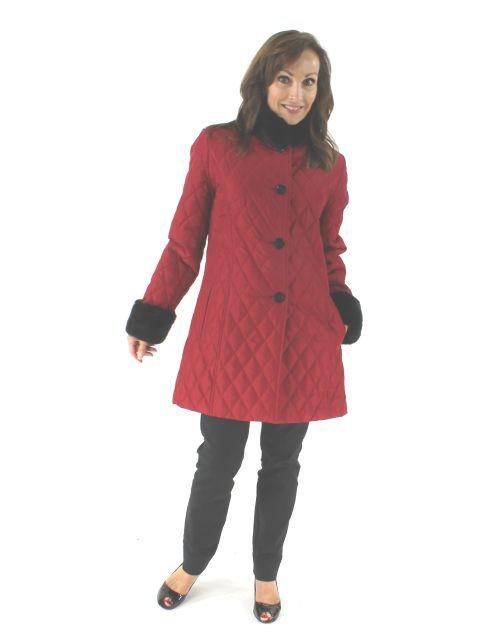 Crimson Quilted Taffeta Stroller with Rabbit Trim