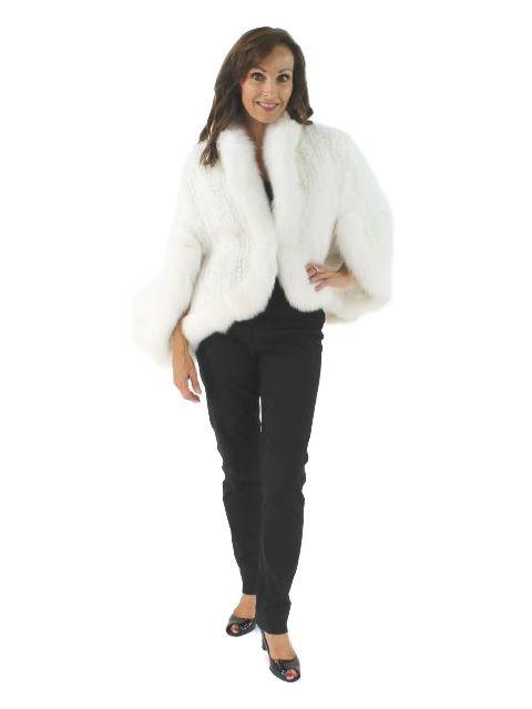 Snow Princess Winter White Knit Mink Wrap with Matching Fox Trim