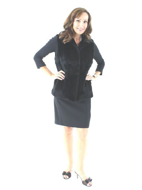 Perfect for Fall and Spring Black Sheared Mink Vest Reversible to Leather