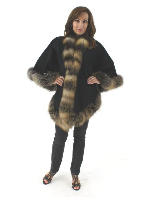 Just Throw it On Warmth and Elegance Black Angora Cape with Cross Fox Trim