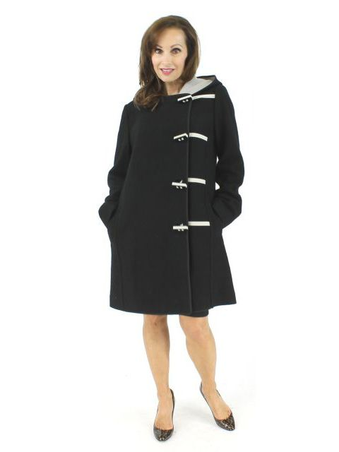 Nostalgic Updated Black and Taupe Boiled Wool Car Coat with Asymmetrical Toggles