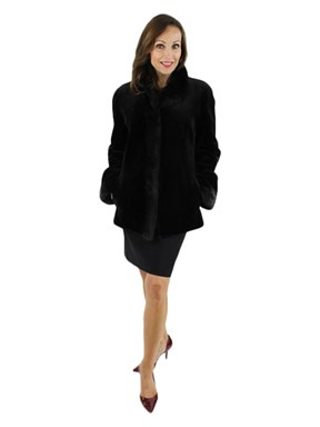 Black Sheared Mink and Leather Jacket