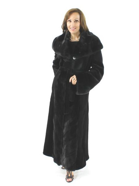 New York Gala Stunning Full Length Black Sheared Mink Coat with Diagonal Trim
