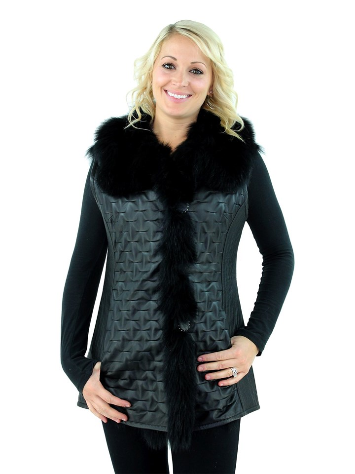 Woman's Black Leather and Black Fox Fur Reversible Vest
