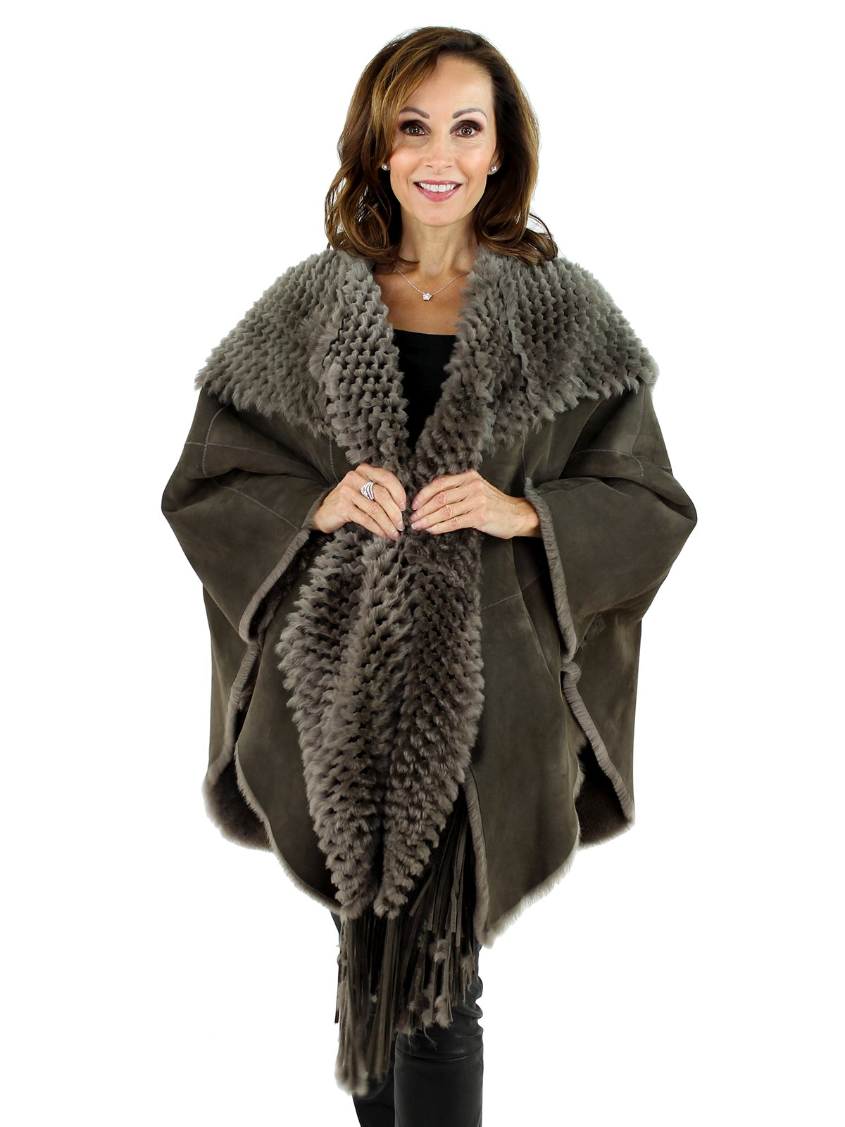 Woman's Brown Shearling Lamb Cape