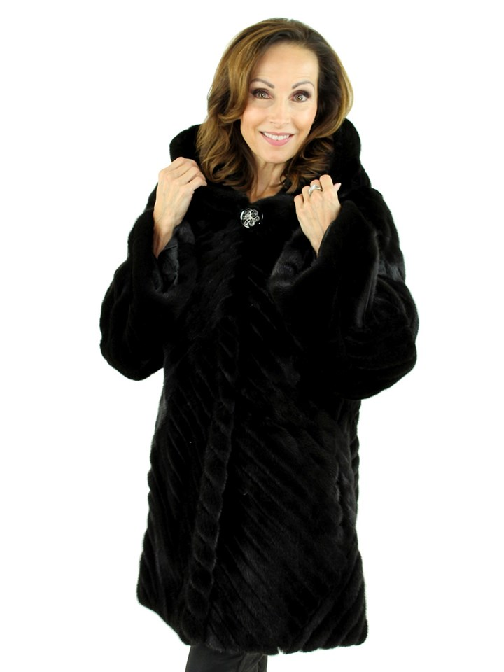 Gorski Woman's Ranch Mink Fur Jacket With Black Suede Inserts