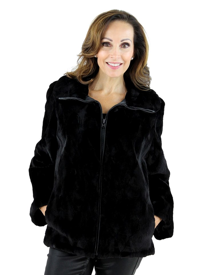 Gorski Woman's Black Sheared Mink Fur Jacket